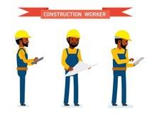 De reeks van mannelijke bouwvakker, de arbeider bekijkt de tablet, het plan en de logboeken Royalty-vrije Stock Foto's