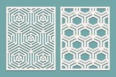 De reeks van matrijs sneed kaart De laser sneed sierpanelen met geometrisch patroon Geschikt voor druk, gravure, laser scherp doc royalty-vrije illustratie