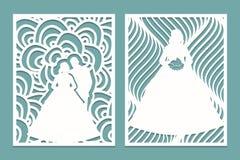 De reeks van matrijzenlaser sneed kaart met het silhouet van de bruid en de bruidegom Malplaatje voor van de huwelijksuitnodiging Royalty-vrije Stock Foto's