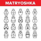 De Reeks van Matryoshkatoy vector thin line icons vector illustratie