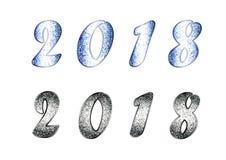De reeks van 2018 met schittert effect Stock Afbeelding