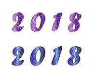 De reeks van 2018 met schittert effect Stock Afbeeldingen