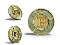 De reeks van moderne gouden 3d bitcoin geeft op witte achtergrond terug Stock Fotografie