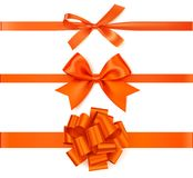 De reeks van mooie de herfstboog met horizontaal lint voor paginadecoratie of de gift pakt in Stock Foto