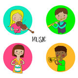 De reeks van musicuskinderen ronde pictogrammen Stock Foto