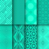 De reeks van naadloze geometrisch en doted patronen Royalty-vrije Stock Foto's