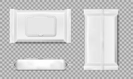 De reeks van nat veegt geïsoleerd servettenmalplaatje af Witte nat veegt leeg pakket af Vector illustratie stock illustratie
