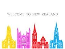 De reeks van Nieuw Zeeland De geïsoleerde architectuur van Nieuw Zeeland op witte achtergrond Stock Foto