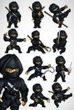 De reeks van 11 Ninja stelt in een zwart kostuum Stock Foto