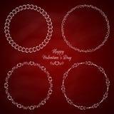 De reeks van 4 omcirkelt leuke kaders voor St Valentine Stock Afbeelding