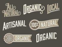 De reeks van 6 Organisch, Natuurvoedingetiketten met wijnoogst ziet eruit Royalty-vrije Stock Foto's