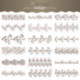 De reeks van 18 overhandigt getrokken patroon bloemenborstels Stock Afbeeldingen