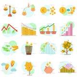 De reeks van overzichtspictogrammen vlakke ontwerpelementen financiert voorwerpen Vector het ontwerpconcept van de pictograminzam Royalty-vrije Stock Foto's