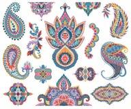 De reeks van Paisley Oosterse decoratieve ontwerpelementen voor stof, drukken, verpakkend document, kaart, uitnodiging, behang Stock Afbeeldingen