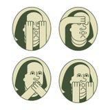 De reeks van portretfranklin OMG Oh mijn god Benjamin Franklin stock illustratie