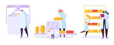 De Reeks van de de Productiefabriek van het kaasvoedsel Commercieel Karakter die Zuivelmachinesproces in Metaaltank maken Melk he stock illustratie
