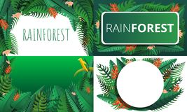 De reeks van de regenwoudbanner, beeldverhaalstijl vector illustratie