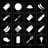 De reeks van Roomijs, zwaait, Kalk, Groenten in het zuur, Komkommer, Deegwaren, Bieslook, stock illustratie