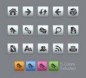 De Reeks van // Satinbox van de Pictogrammen van de Navigatie van het Web Stock Foto