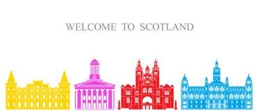 De reeks van Schotland De geïsoleerde architectuur van Schotland op witte achtergrond Stock Fotografie