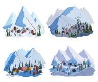 De reeks van de skitoevlucht Mooie landschappen met bergen, huizen, hotels, sparren en skilift vector illustratie
