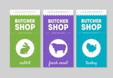De Reeks van slagersshop packaging labels, Konijn, Vers Vlees, de Vectorillustratie van Turkije vector illustratie