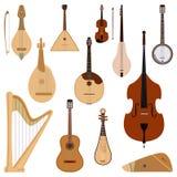De reeks van stringed gedroomd muzikaal de kunst correct hulpmiddel van het instrumenten klassiek orkest en de akoestische symfon royalty-vrije illustratie
