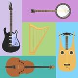 De reeks van stringed muzikaal de kunst correct hulpmiddel van het instrumenten klassiek orkest en de akoestische symfonie string vector illustratie