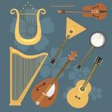 De reeks van stringed muzikaal de kunst correct hulpmiddel van het instrumenten klassiek orkest en de akoestische symfonie string royalty-vrije illustratie