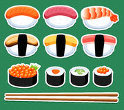De reeks van sushi Stock Afbeelding