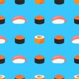 De reeks van sushi Broodjes met kaviaar van rode vissen, met zalm E Traditioneel Japans voedsel Naadloos patroon royalty-vrije illustratie