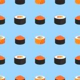 De reeks van sushi Broodjes met kaviaar van rode vissen, met zalm Traditioneel Japans voedsel Naadloos patroon vector illustratie