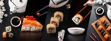 De reeks van sushi en maki rolt met tak van witte bloemen en theepot Panoramische foto royalty-vrije stock afbeelding
