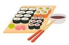 De reeks van sushi Japanse zeevruchtenvector Aziatisch restaurantvoedsel op lijst Grote die sushi met eetstokjes worden geplaatst Stock Afbeeldingen