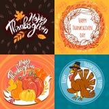 De reeks van de thanksgiving daybanner, hand getrokken stijl vector illustratie
