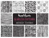 De reeks van tien overhandigt getrokken inkt naadloze patronen royalty-vrije illustratie
