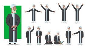 De reeks van traditioneel gekleed moslimkarakter stelt en emoties Royalty-vrije Stock Foto's