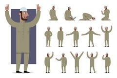 De reeks van traditioneel gekleed moslimkarakter stelt en emoties Stock Foto