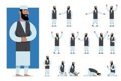 De reeks van traditioneel gekleed moslimkarakter stelt en emoties Royalty-vrije Stock Fotografie