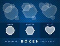 De reeks van transparante bokeh vormt effect Stock Foto's