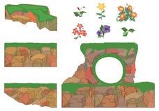 De reeks van tuin plant bloemen en stenen Stock Foto's