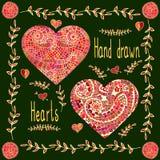 De reeks van twee overhandigt getrokken harten met bloemenkader Royalty-vrije Stock Foto