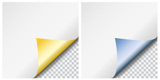 De reeks van twee realistische kleurrijke metaal glanzende gekrulde document hoeken met transparen stock illustratie