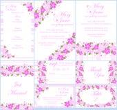De reeks van de de uitnodigingskaart van het florahuwelijk stock illustratie