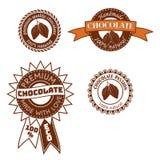 De reeks van uitstekend vectorkenteken, etiket, de ontwerpen van het embleemmalplaatje met cacaobonen voor met de hand gemaakte c Royalty-vrije Stock Foto