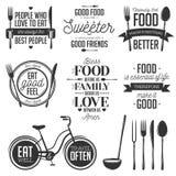 De reeks van uitstekend voedsel bracht typografische citaten met elkaar in verband stock illustratie