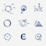 De reeks van van de het diagramgrafiek van de cirkelgrafiek de pasteihand trekt Royalty-vrije Stock Foto