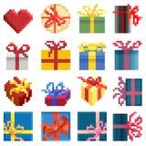 De reeks van vector eenvoudig pixel stelt doos voor. Royalty-vrije Stock Foto