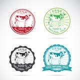 De reeks van vector melkkoeien etiketteert Stock Afbeelding