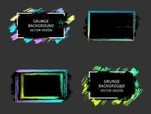 De reeks van vectorhand schilderde borstelkaders, citaatachtergronden Stock Afbeeldingen
